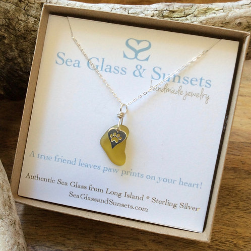 Citron Sterling Silver Paw Necklace