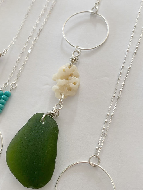 Ocean Lover Sea Glass Necklace in Hunter Green