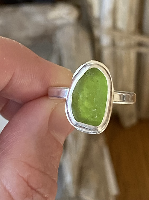 Lime Green bezel ring
