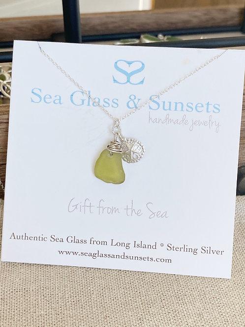 Citron  sea glass sand dollar necklace