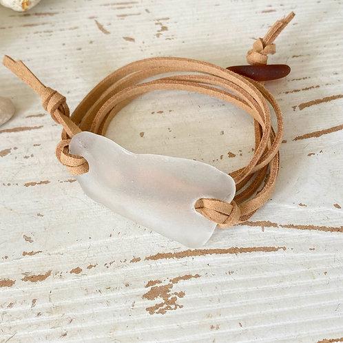 Beige faux suede clear sea glass wrap bracelet