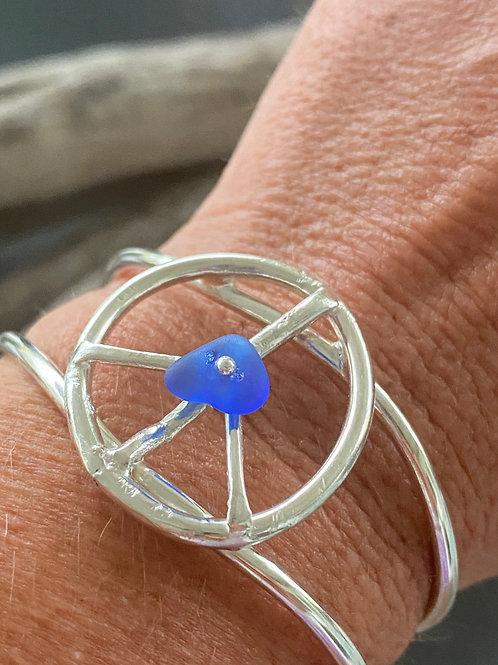 Sea glass beachy bohemian peace cuff bracelet