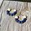 Thumbnail: Navy Wooden bead hoop earrings