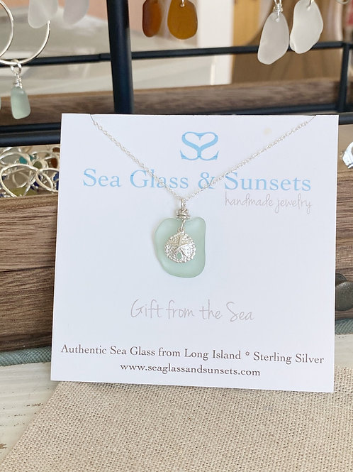 Sea foam sea glass sand dollar necklace