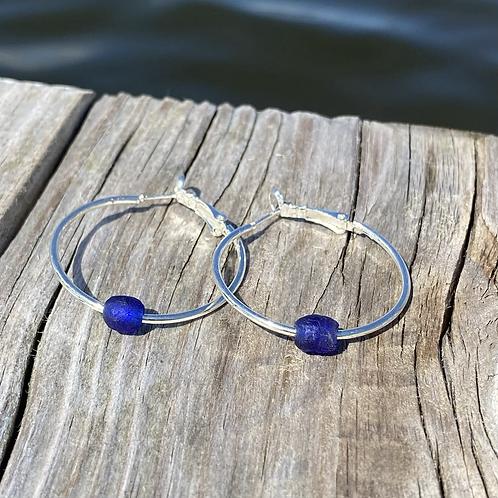 Blue Recycled glass hoop earrings