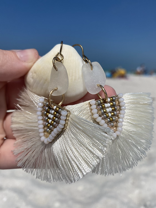 Beachy bohemian clear sea glass earrings