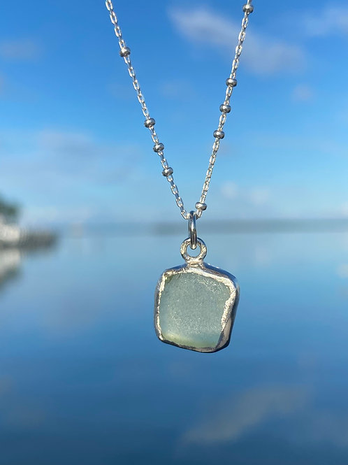 Sea foam open bezel necklace
