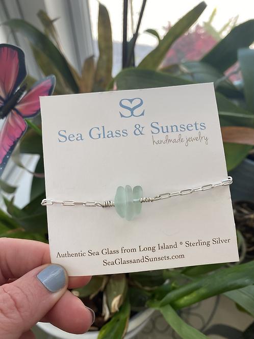 Adjustable sterling silver  sea glass bracelet