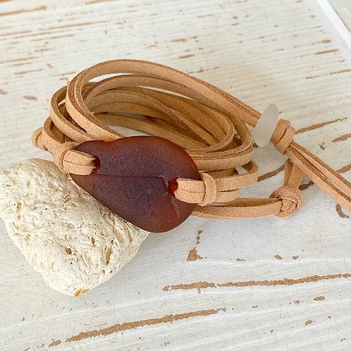 Beige faux suede brown sea glass wrap bracelet