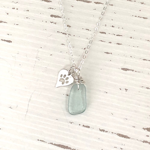 Pets are miracles with paws sea glass necklace