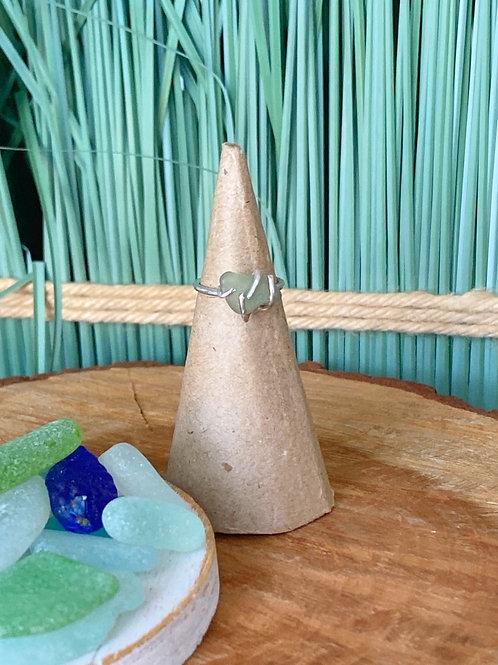 Custom made Prong set sea foam sea glass ring