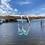 Thumbnail: Sea foam Recycled glass hoop earrings