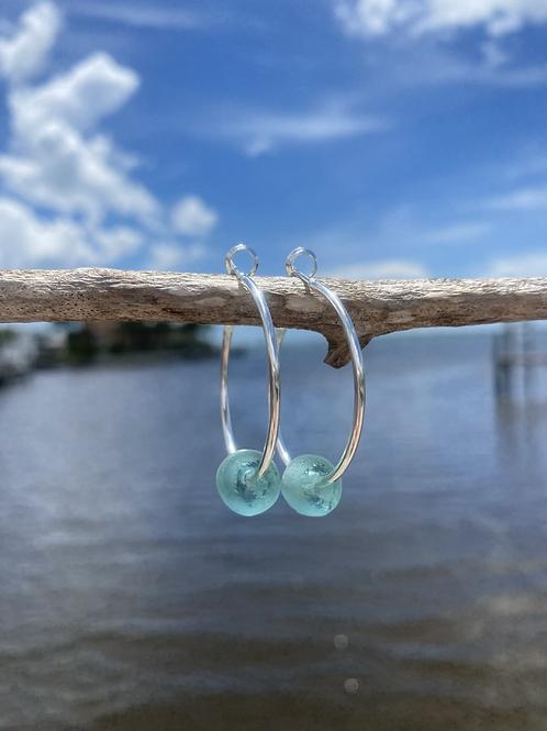Sea foam Recycled glass hoop earrings