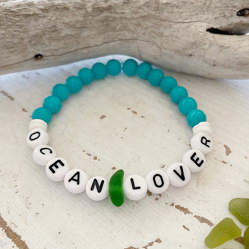 Turquoise Sea glass word bracelets
