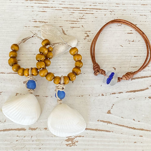 Beachy bohemian recycled blue glass shell earrings