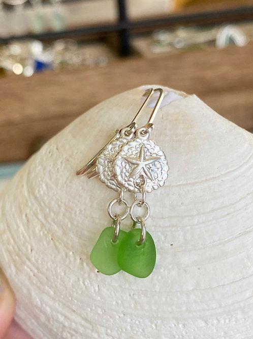 Kelly green sea glass sterling silver sand dollar earrings