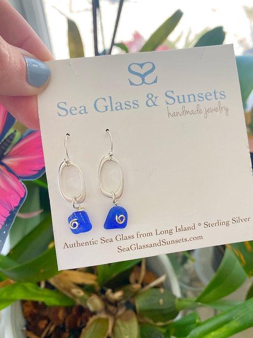 Organic cobalt blue sea glass earrings
