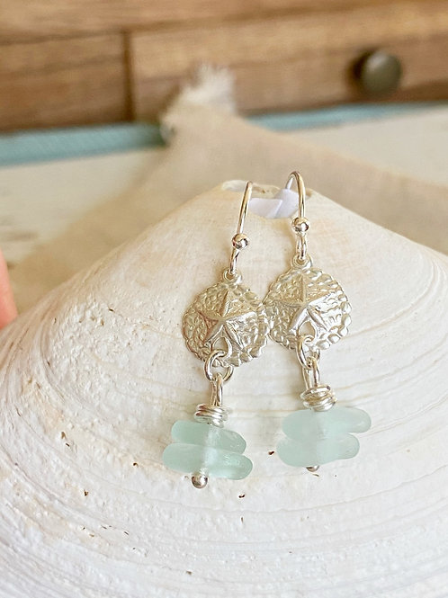 Sea foam stacked sea glass sterling silver sand dollar  earrings