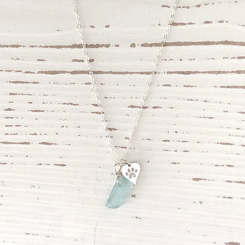 Aqua sea glass paw necklace