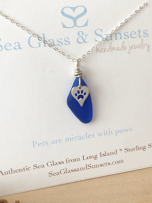 Cobalt blue paw heart necklace