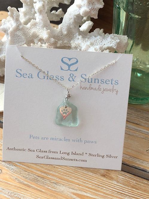 Sea foam paw necklace