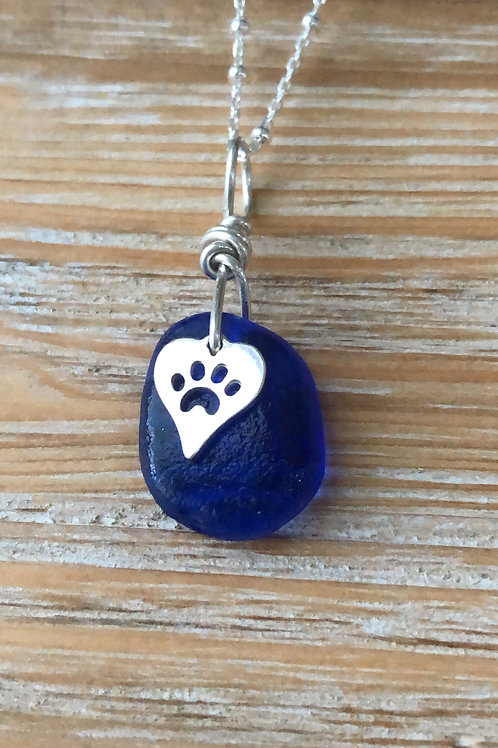 Blue paw necklace