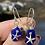 Thumbnail: Cobalt sea glass sterling silver starfish earrings