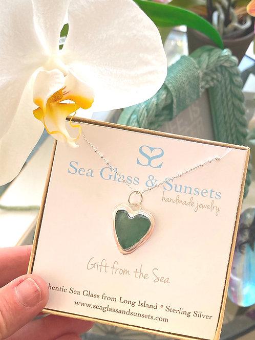 Sea foam green sea glass heart necklace