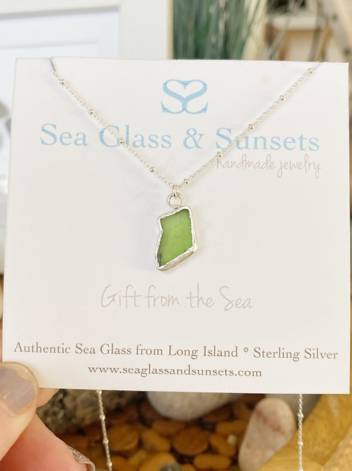Lime green open bezel necklace