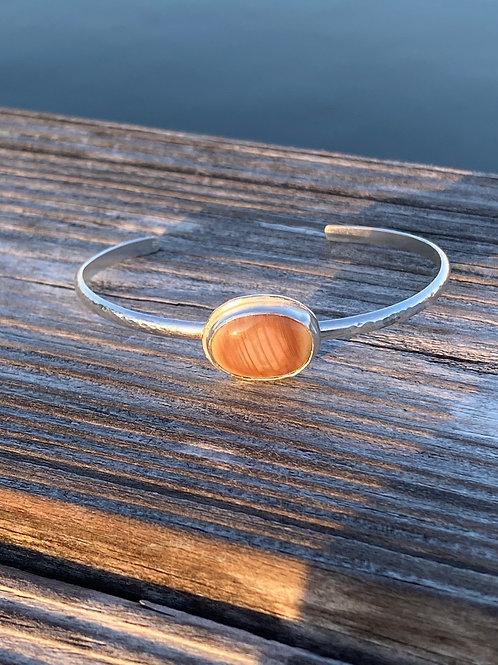 Sterling silver stone bezel cuff bracelet