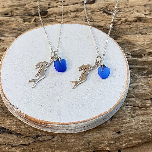 Cobalt blue Sterling silver mermaid Necklace
