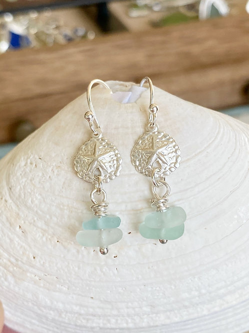 Sea foam stacked sea glass sterling silver sand dollar  earrings