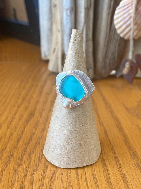 Caribbean blue sea glass bezel ring