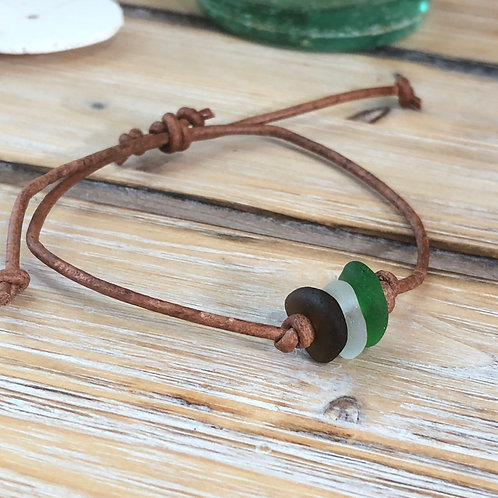 Leather Cord Bracelet Sea Glass Trio