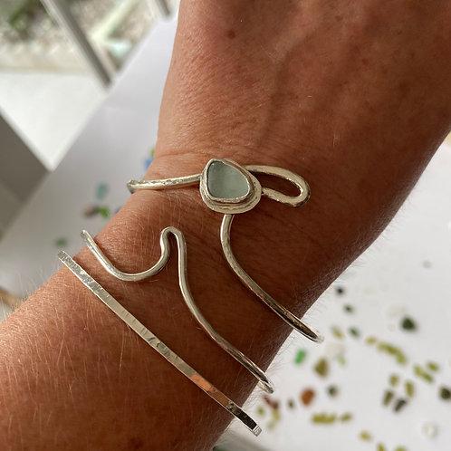 Ride the Wave Sea foam bezel sea glass cuff bracelet