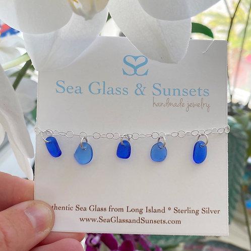 Cobalt Blue sea glass bracelet/anklet