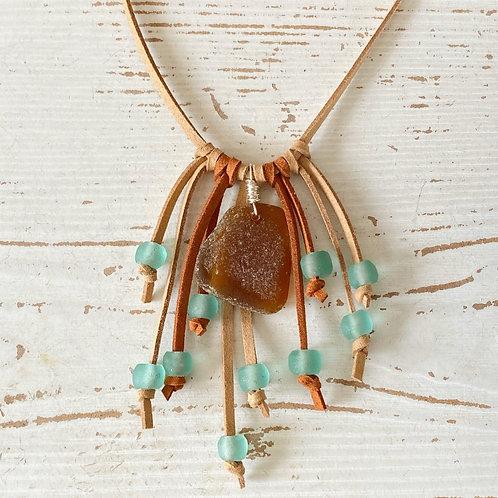 Boho fringe sea foam faux suede necklace