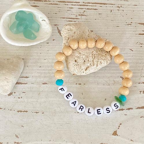 stretchy sea glass word bracelet