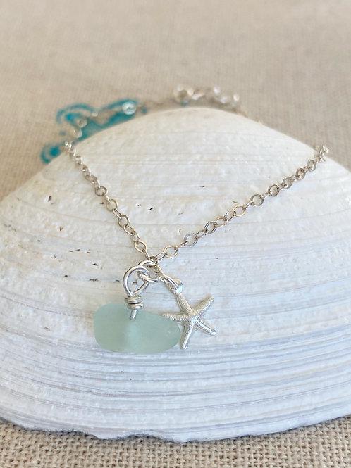 Sea foam  sea glass starfish bracelet