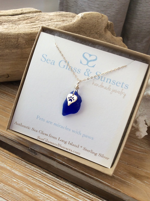 Cobalt Blue paw print necklace