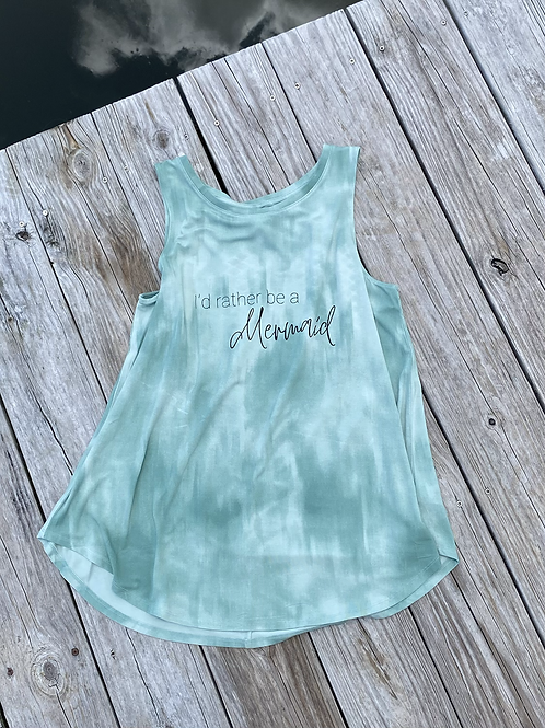 I'd Rather Be A Mermaid Tie-Dye High-Neck Tank Top