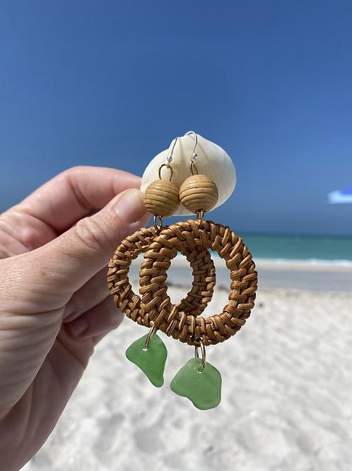 Beachy bohemian green sea glass earrings