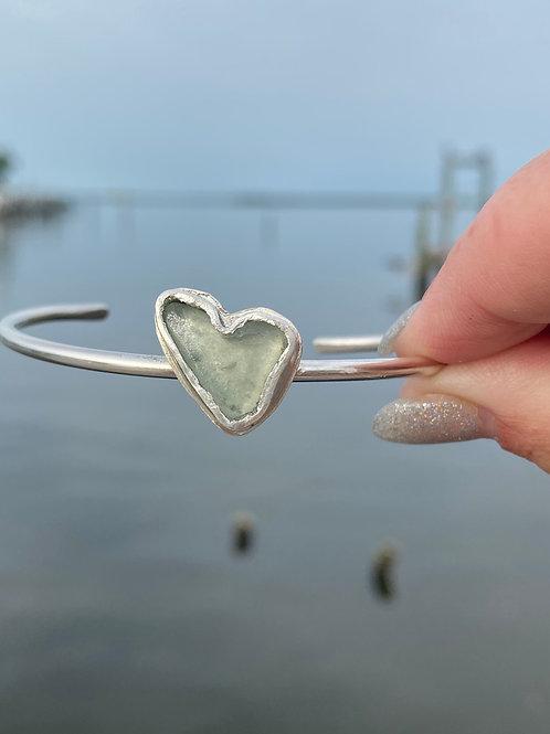 Green sea foam Heart sea glass bracelet