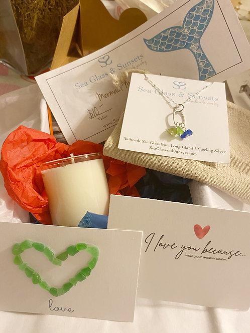 Organic Multi colored Sea Glass Necklace Gift Box