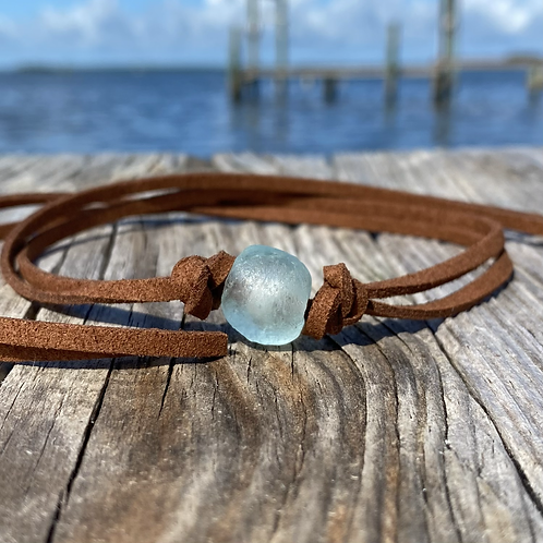 Faux Suede Recycled Glass Necklace/Braclet