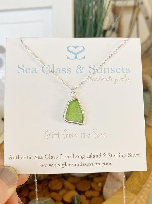 Lime green open bezel necklace