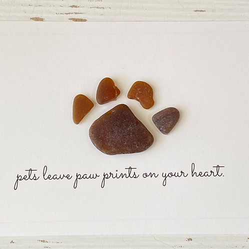 Pets leave paw prints on your heart Sea glass framed paw art