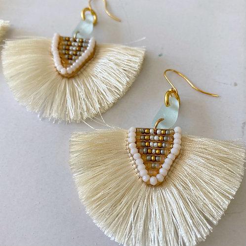 Beachy bohemian light sea foam sea glass earrings