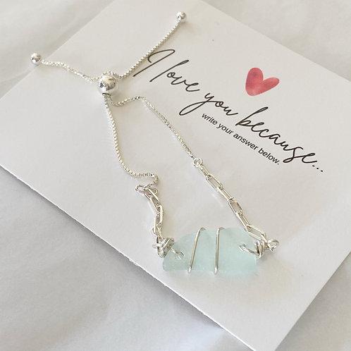 Adjustable sterling silver  sea foam sea glass bracelet