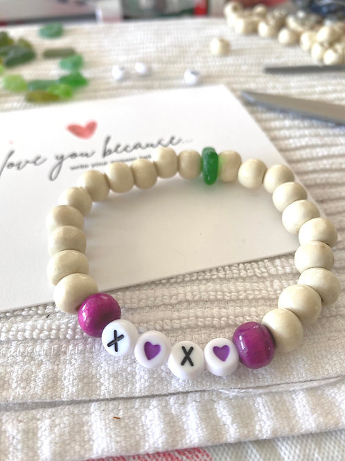X❤️X❤️. Sea glass word bracelets